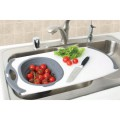 Over the Sink Strainer Board with Silicone Strainer colander